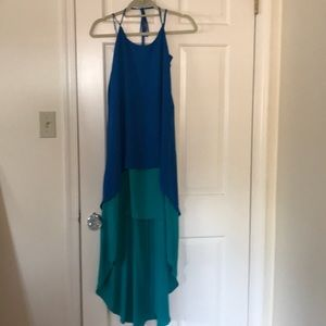 high low crepe halter dress